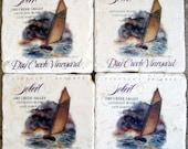 For Him, Sailboats, Sailing, Nautical, Coastal, Stone Coasters