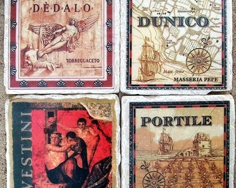 Him A Gift for Him Handmade Masculine Wine Label Coasters
