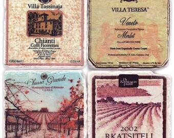 Stone Coasters - Vintage Rustic Wine Labels