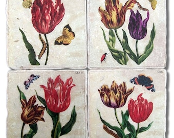 Stone Coasters, Floral Garden, Tulips, 1790's