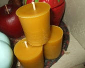 Three Pure Beeswax Votive Candles