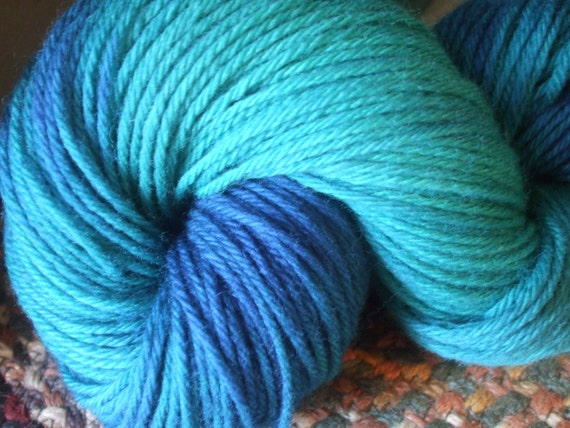 Jeweled Teal Worsted Weight Hand Dyed Yarn