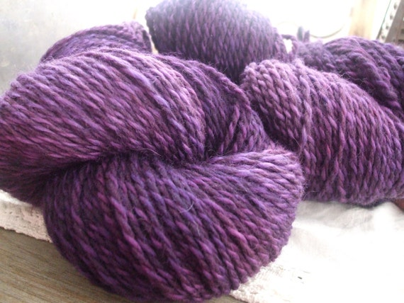 Purple Lilac Hand Dyed Heavy Worsted Weight Wool Yarn