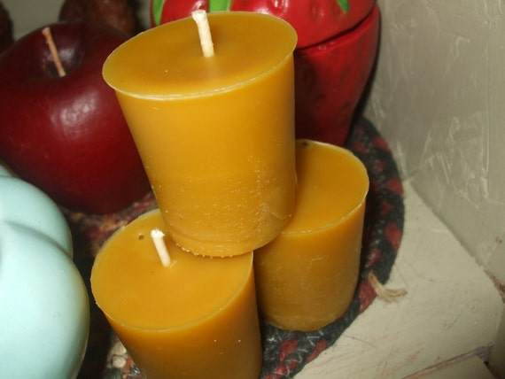Pure Beeswax - Three Cassia Oil Votive Candles