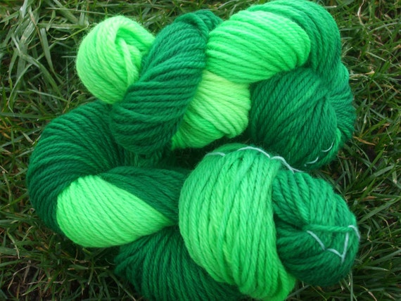 Hand Dyed Wool Yarn-Bulky Weight- Grass Green