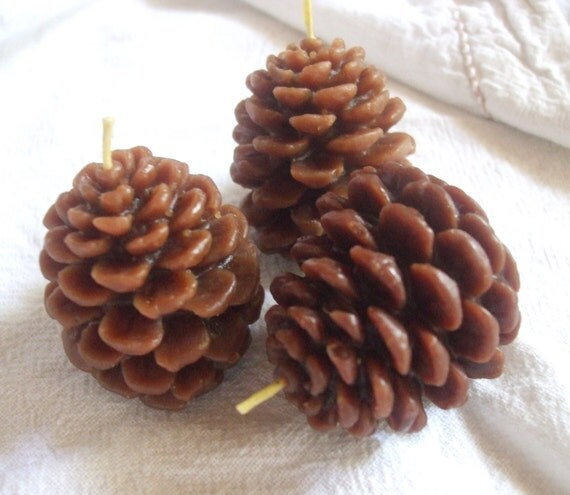 Three Pinecones- Pure Beeswax Candles