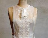 Victorian Lace Biblet // Vintage Shift // Sheer White Top
