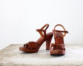 1970s Leather Sandals // Size 8.5 // High Heel Sandals