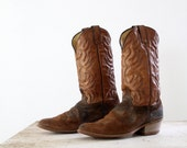 1970s Cowboy Boots // Vintage Rough Outs // Mens 9.5 - Womens 10.5