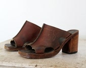 1970s Clogs // Vintage Leather Sandals - Size 8