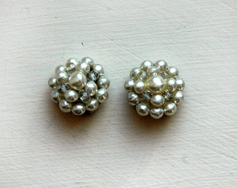 1960s faux pearl earrings, large cluster clip-ons