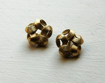 1950s Monet gold ribbon earrings, vintage clip-ons