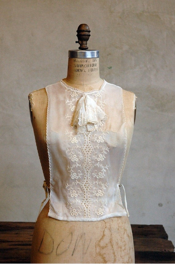 Victorian Lace Biblet // Vintage Shift // Sheer White Top