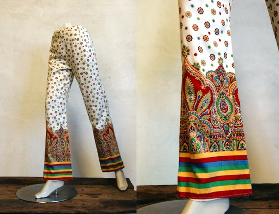 1970s Print Pants // Vintage Cotton Pants // The Beach Comber