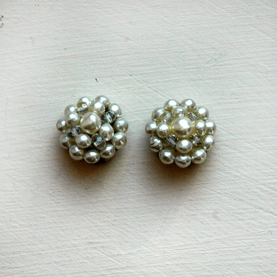 FREE SHIP  1960s faux pearl earrings, large cluster clip-ons