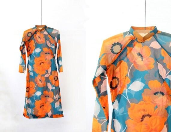 1970s Cheongsam Asian Dress // Poppy Fields