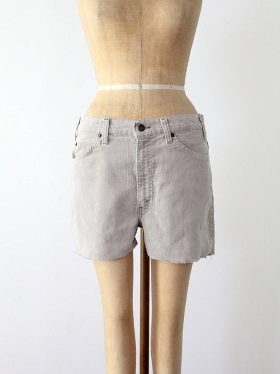 Levi's corduroy shorts, vintage cut off shorts, waist 33