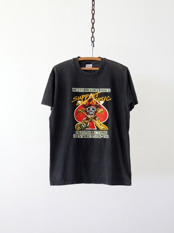 Vintage Rocker Tee / 1980s Black Skull T-Shirt