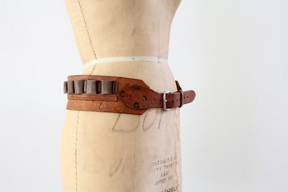 1960s Leather Belt // Ammunition Belt // Vintage Leather Ammo