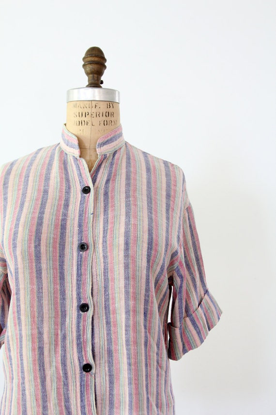 1970s Gauze Shirt / Vintage Stripe Top