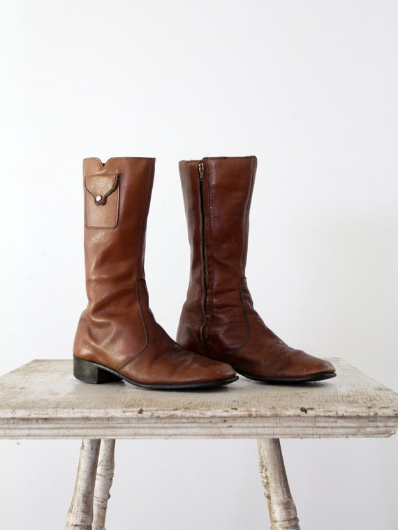 1970s Leather Boots // Hippie Boots // Women's 9.5