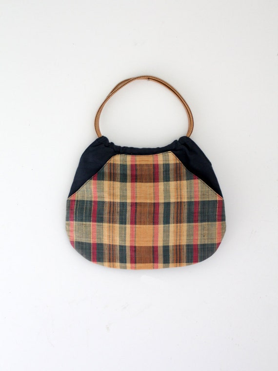 1980s Plaid Bag // Vintage Madras Print Purse