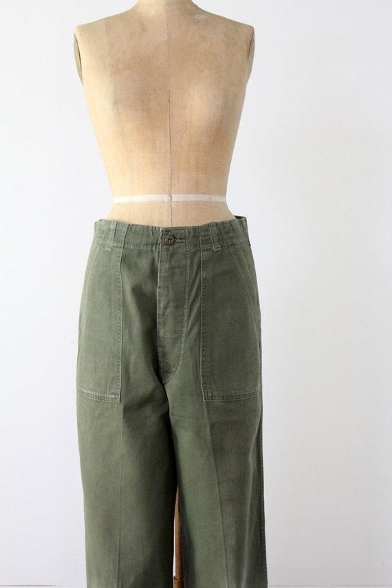 Vintage Army Pants // 70s Utility Pants // Size 32x32