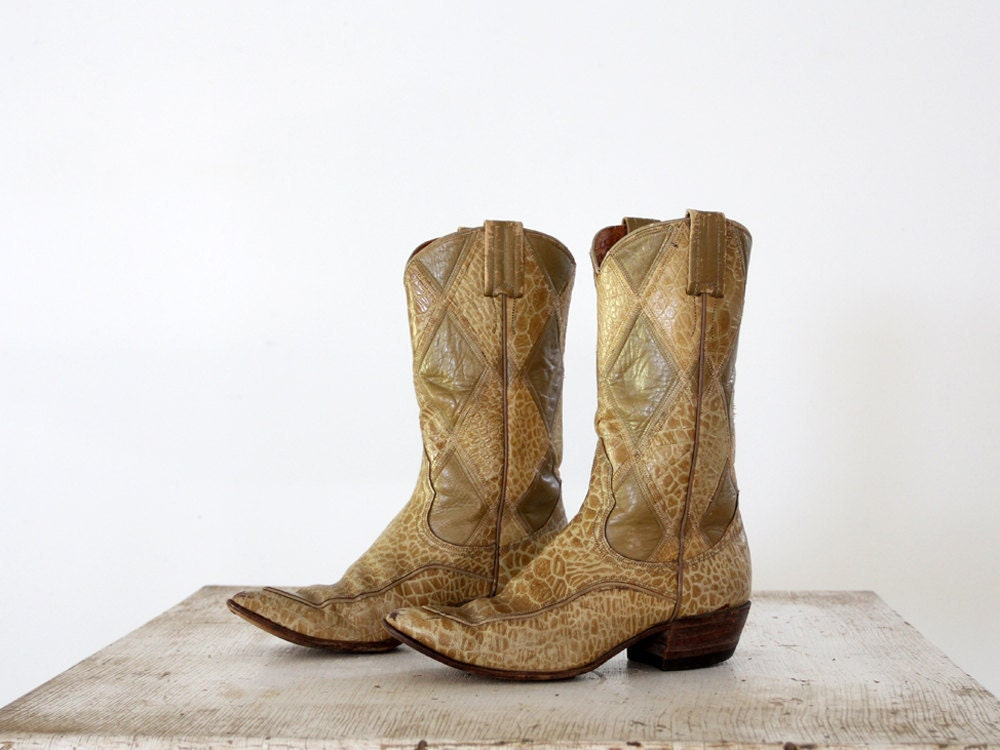 1960s Leather Boots Nocona Boots Exotic Skin By