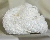 Pure Linen Recycled Yarn, White, Fingering to Sport Weight, 130 yards