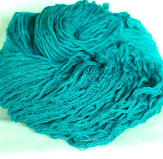 Pure Cotton Recycled Yarn, Bright Teal Turquoise,  Bulky Weight, 494 yards