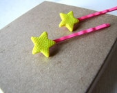 Neon Pink and Yellow Star Bobby Pins