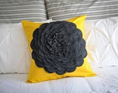 Ocher/yellow pillow cover with large gray felt flower 18x18