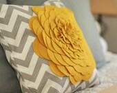 Gray Chevron stripe felt flower pillow cover. 18x18