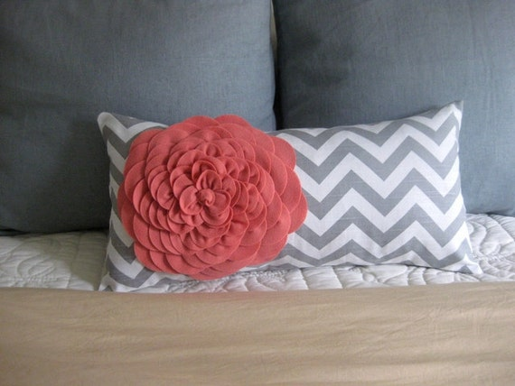 Coral and Gray felt flower pillow cover.
