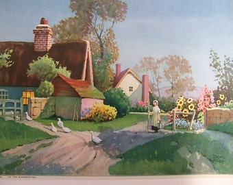 Vintage English Thatched Cottage Colour Litho Print