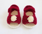 Crocheted Open Toe Mary Jane Infant Shoes in Deep Red with Cream Sole and Beaded Applique Flowers, 3M-6M