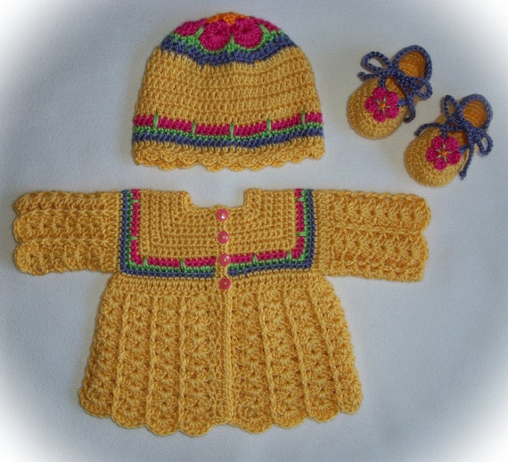Crocheted Sunshine African Flower Sweater/Hat/Booties by ...