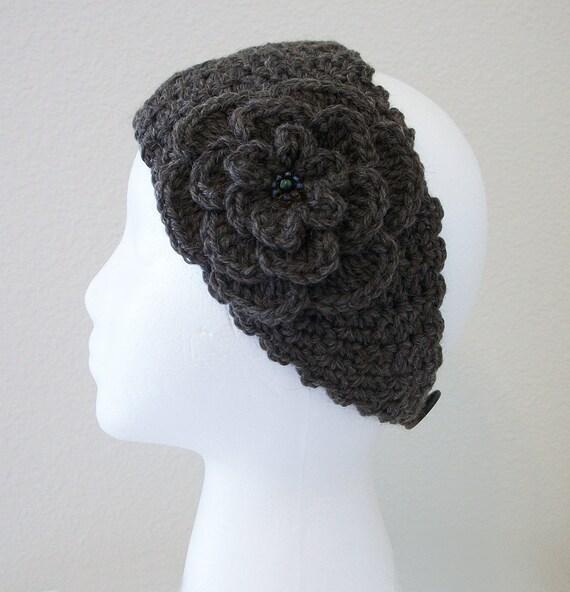 Crocheted WOOL Romance  Headband/Ear Warmer in Bramble Heather with Beaded Irish Rose