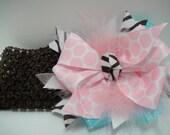 Pink Boa,Polka Dot, Chocolate Zebra with Blue Grosgrain Ribbon on a chocolate headband