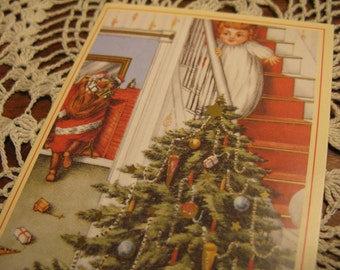 Pair Unused  Merry Christmas cards w envels, Catching Santa, Victorian Era tree, Child, great detailing.
