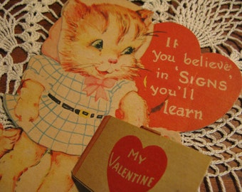 Collectible HUGE XL Kitty Cat Valentine dated 2/14/46, sturdy cardboard, fantastic condition, Lots MORE in shop, 1930s 40s 50s 60s