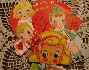 Valentine Card lot, BIG eyed Baby Doll, Cupie Doll types, dated 1930s & 51, Super graphics for Instant Collection