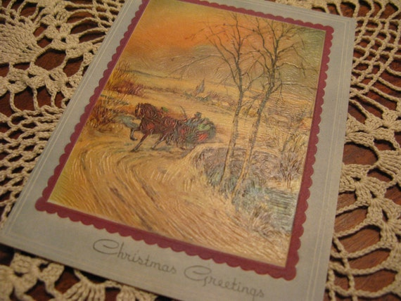 Christmas Travelers INSTANT  diverse Collection Vintage Cards,  4 warm  horse drawn sleigh/stagecoach/snow images, ribbon, 1940s-50s