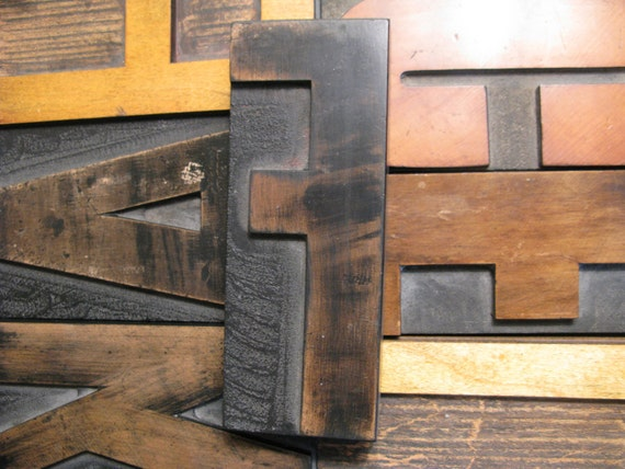 "RESERVED Allison, Chocolate patina Letter F,  6 inch capital letterpress wood type, letterpress  J and C, 1 5/8"", plus 7 numbers."