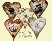 "4"" x 5"" Paris Style Heart Scrapbooking/Craft Tags"