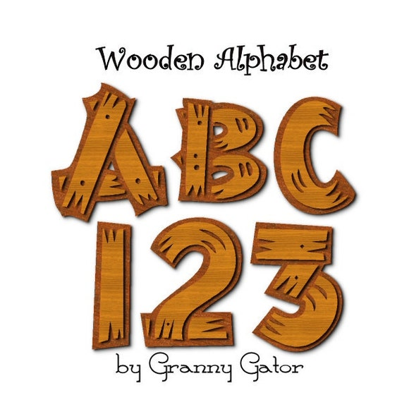 Digital Graphics Printable Wooden Alphabet