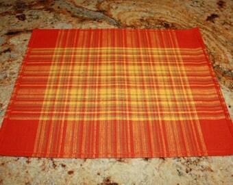 4 Vintage Orange Place mats