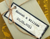 Fall Winter Wedding Tags, Bridal Shower Tags - Typewriter Typed Bride & Groom Names + Wedding Date Tags - Rustic.Vintage-Inspired.Natural.