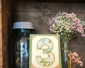 Custom Wedding Table Number -                          Tiny Art w/ Easel - Rustic, Vintage-Inspired, Natural