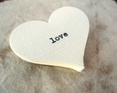 Ivory Love Confetti (20) - Wedding Table Decor, Favor Cards - Rustic, Vintage-Inspired, Natural